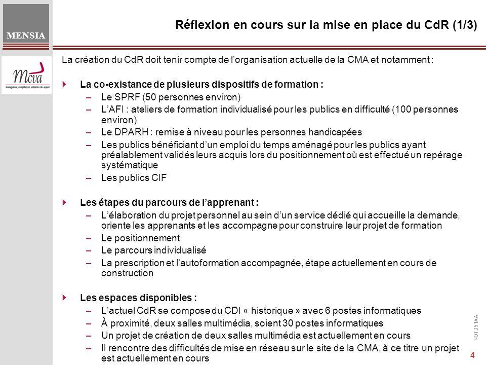 NOT351AA MENSIA 4 Réflexion en cours sur la mise en place du CdR (1/3) La création du CdR doit tenir compte de l'organisation actuelle de la CMA et notamment :  La co-existance de plusieurs dispositifs de formation : –Le SPRF (50 personnes environ) –L'AFI : ateliers de formation individualisé pour les publics en difficulté (100 personnes environ) –Le DPARH : remise à niveau pour les personnes handicapées –Les publics bénéficiant d'un emploi du temps aménagé pour les publics ayant préalablement validés leurs acquis lors du positionnement où est effectué un repérage systématique –Les publics CIF  Les étapes du parcours de l'apprenant : –L'élaboration du projet personnel au sein d'un service dédié qui accueille la demande, oriente les apprenants et les accompagne pour construire leur projet de formation –Le positionnement –Le parcours individualisé –La prescription et l'autoformation accompagnée, étape actuellement en cours de construction  Les espaces disponibles : –L'actuel CdR se compose du CDI « historique » avec 6 postes informatiques –À proximité, deux salles multimédia, soient 30 postes informatiques –Un projet de création de deux salles multimédia est actuellement en cours –Il rencontre des difficultés de mise en réseau sur le site de la CMA, à ce titre un projet est actuellement en cours