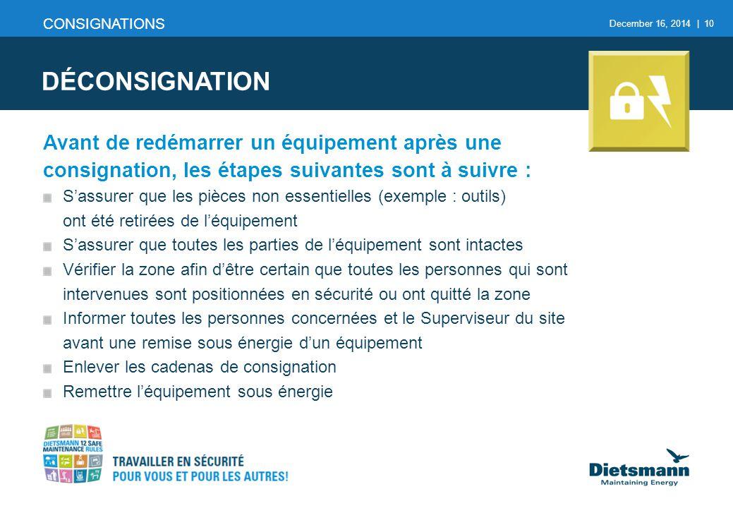 December 16, 2014 | 10 CONSIGNATIONS DÉCONSIGNATION Avant de redémarrer un équipement après une consignation, les étapes suivantes sont à suivre : S'a