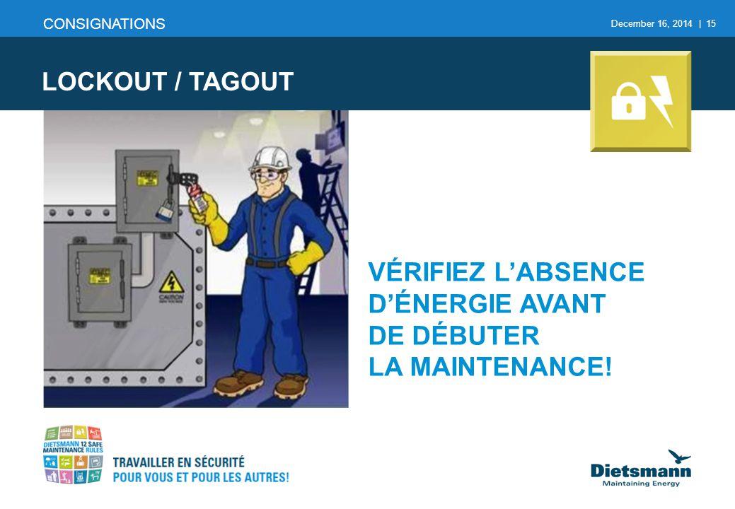 December 16, 2014 | 15 CONSIGNATIONS LOCKOUT / TAGOUT VÉRIFIEZ L'ABSENCE D'ÉNERGIE AVANT DE DÉBUTER LA MAINTENANCE!