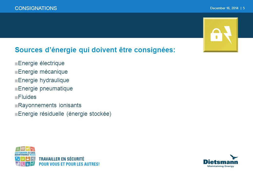 December 16, 2014 | 5 CONSIGNATIONS Sources d'énergie qui doivent être consignées: Energie électrique Energie mécanique Energie hydraulique Energie pn