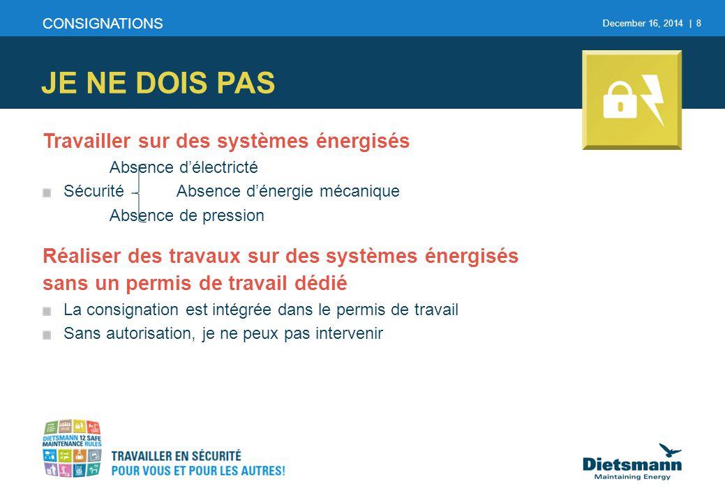 December 16, 2014 | 8 Travailler sur des systèmes énergisés Absence d'électricté SécuritéAbsence d'énergie mécanique Absence de pression Réaliser des