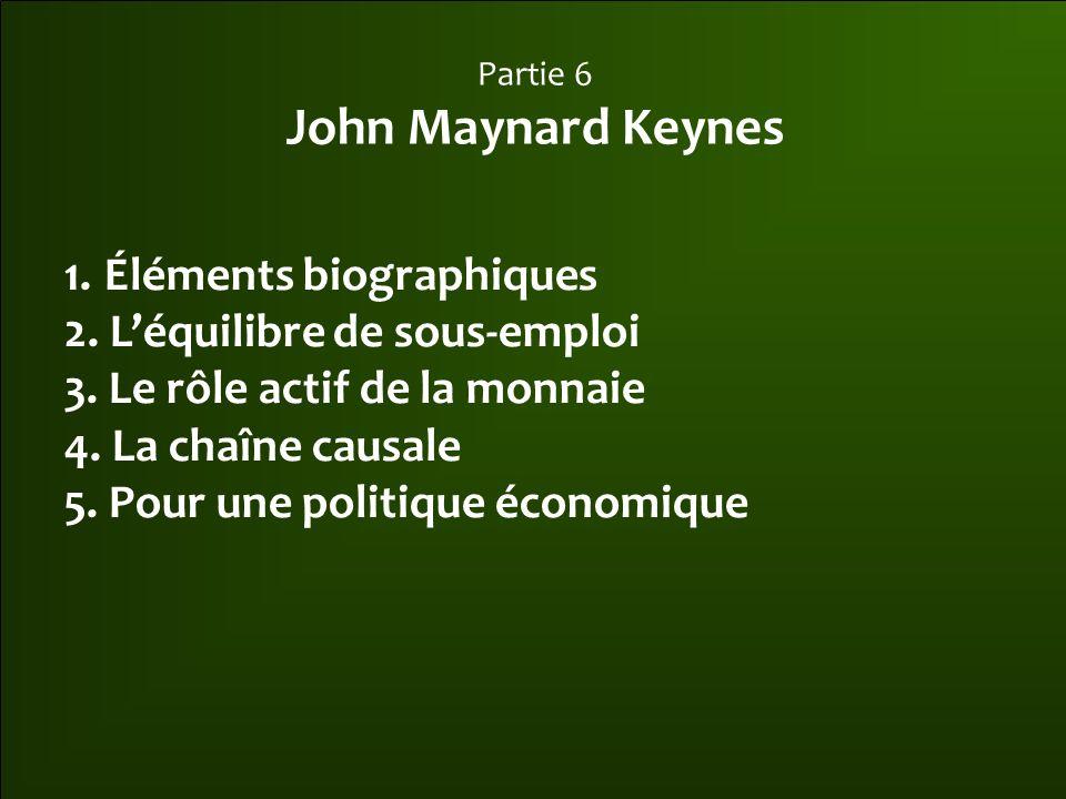 Partie 6 John Maynard Keynes 1.Éléments biographiques 2.