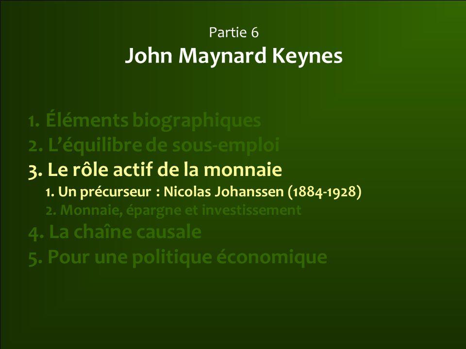 Partie 6 John Maynard Keynes 1.Éléments biographiques 2. L'équilibre de sous-emploi 3. Le rôle actif de la monnaie 1. Un précurseur : Nicolas Johansse