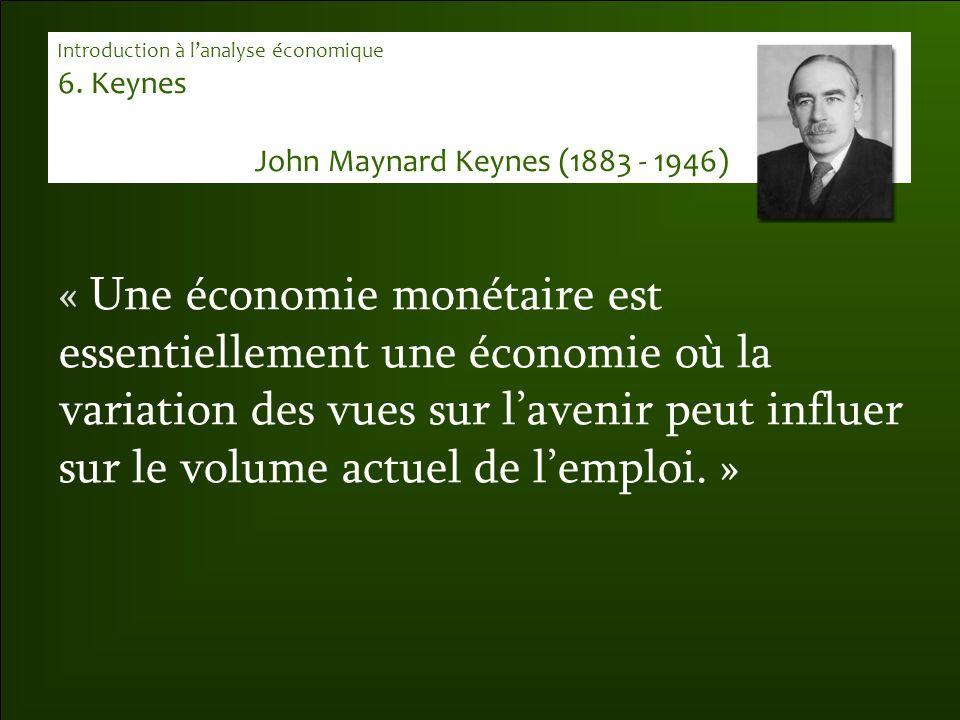 « Une économie monétaire est essentiellement une économie où la variation des vues sur l'avenir peut influer sur le volume actuel de l'emploi. » Intro
