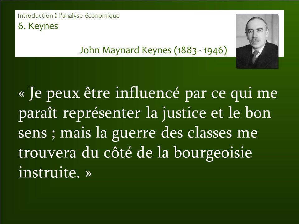 « Je peux être influencé par ce qui me paraît représenter la justice et le bon sens ; mais la guerre des classes me trouvera du côté de la bourgeoisie