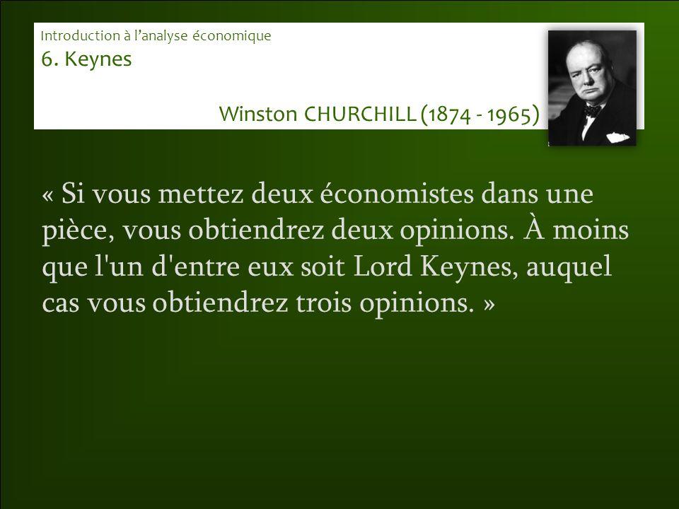 « Si vous mettez deux économistes dans une pièce, vous obtiendrez deux opinions. À moins que l'un d'entre eux soit Lord Keynes, auquel cas vous obtien
