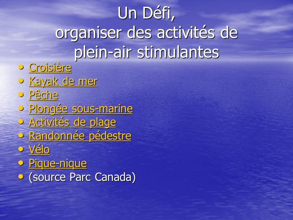 Un Défi, organiser des activités de plein-air stimulantes Croisière Croisière Croisière Kayak de mer Kayak de mer Kayak de mer Kayak de mer Pêche Pêche Pêche Plongée sous-marine Plongée sous-marine Plongée sous-marine Plongée sous-marine Activités de plage Activités de plage Activités de plage Activités de plage Randonnée pédestre Randonnée pédestre Randonnée pédestre Randonnée pédestre Vélo Vélo Vélo Pique-nique Pique-nique Pique-nique (source Parc Canada) (source Parc Canada)