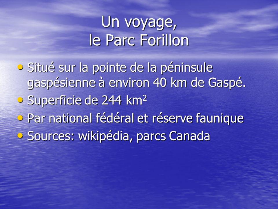 Un voyage, le Parc Forillon Situé sur la pointe de la péninsule gaspésienne à environ 40 km de Gaspé. Situé sur la pointe de la péninsule gaspésienne