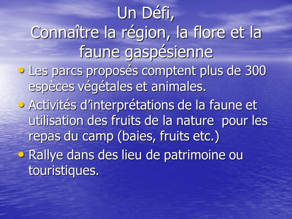 Un Défi, Connaître la région, la flore et la faune gaspésienne Les parcs proposés comptent plus de 300 espèces végétales et animales.
