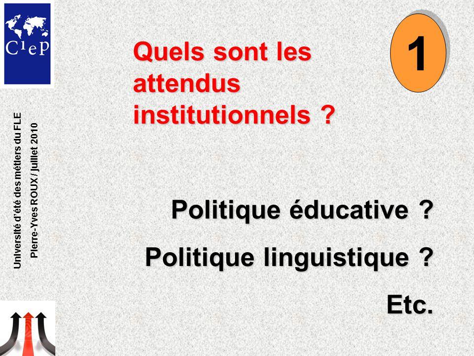 Quels sont les attendus institutionnels .Politique éducative .