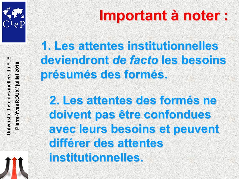 1. Les attentes institutionnelles deviendront de facto les besoins présumés des formés. Université d'été des métiers du FLE Pierre-Yves ROUX / juillet