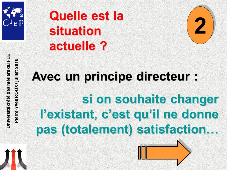 Quelle est la situation actuelle ? Avec un principe directeur : si on souhaite changer l'existant, c'est qu'il ne donne pas (totalement) satisfaction…