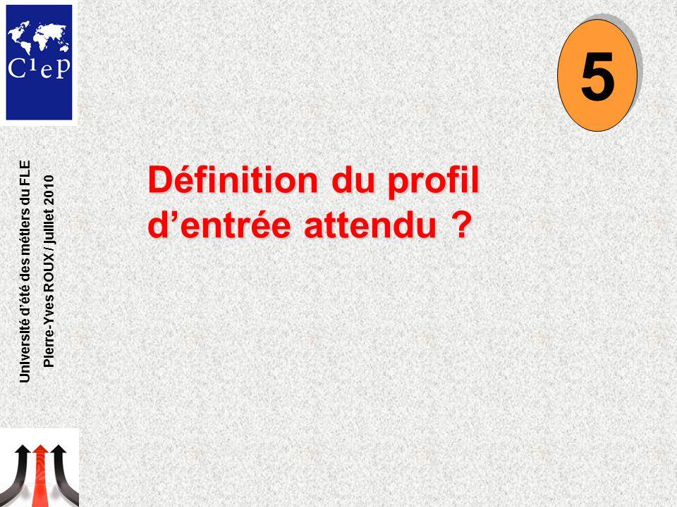 Définition du profil d'entrée attendu ? 5 5 Université d'été des métiers du FLE Pierre-Yves ROUX / juillet 2010