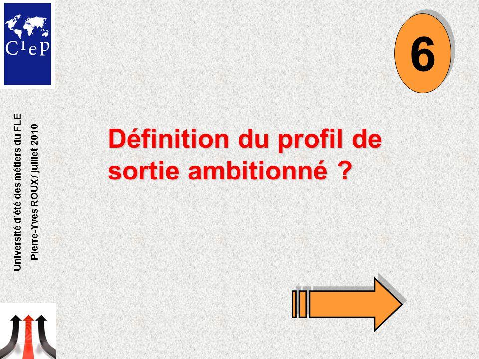 Définition du profil de sortie ambitionné ? 6 6 Université d'été des métiers du FLE Pierre-Yves ROUX / juillet 2010