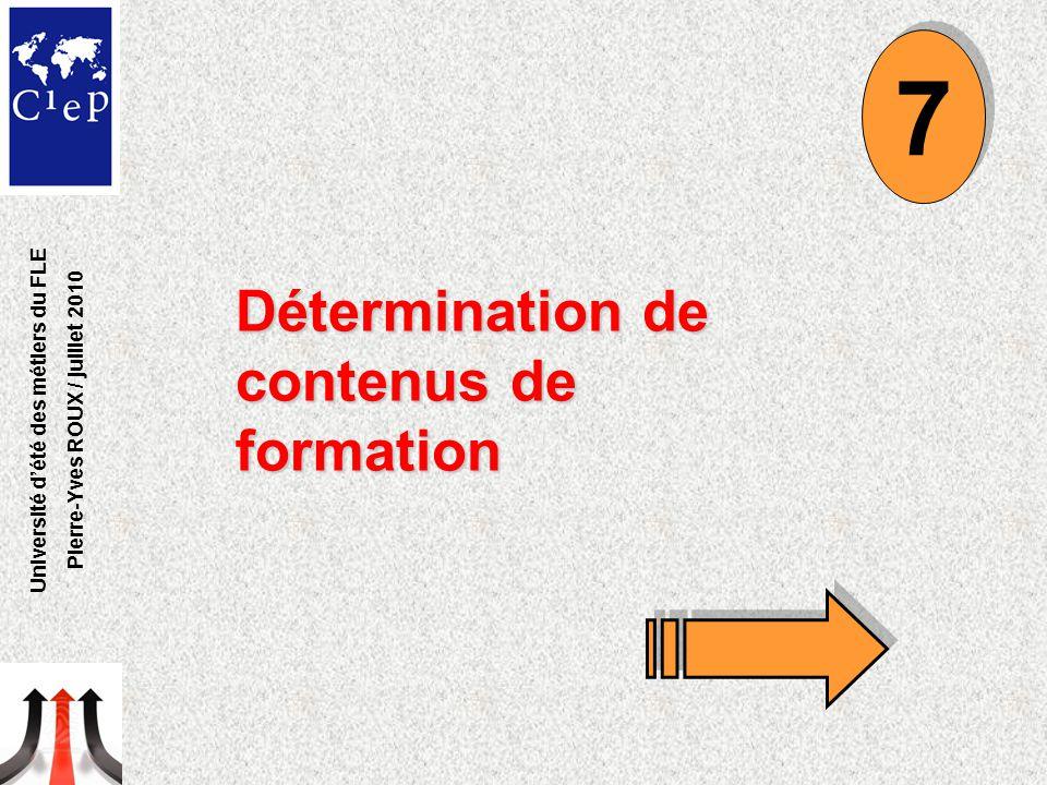 Détermination de contenus de formation 7 7 Université d'été des métiers du FLE Pierre-Yves ROUX / juillet 2010