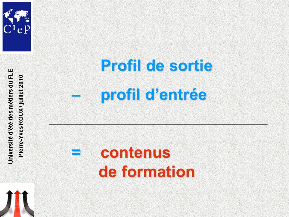 Profil de sortie – profil d'entrée = contenus de formation = contenus de formation Université d'été des métiers du FLE Pierre-Yves ROUX / juillet 2010