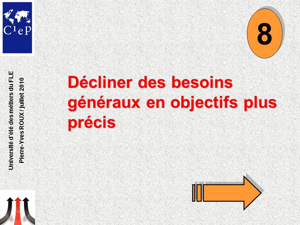 Décliner des besoins généraux en objectifs plus précis 8 8 Université d'été des métiers du FLE Pierre-Yves ROUX / juillet 2010