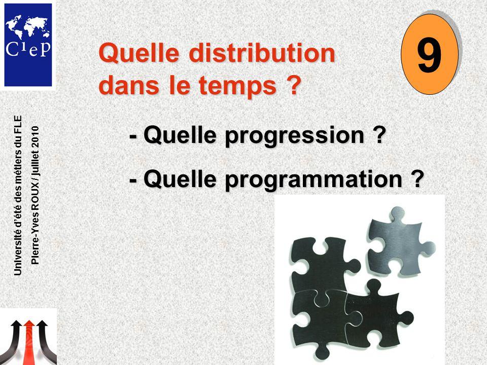 Quelle distribution dans le temps ? - Quelle progression ? - Quelle programmation ? 9 9 Université d'été des métiers du FLE Pierre-Yves ROUX / juillet
