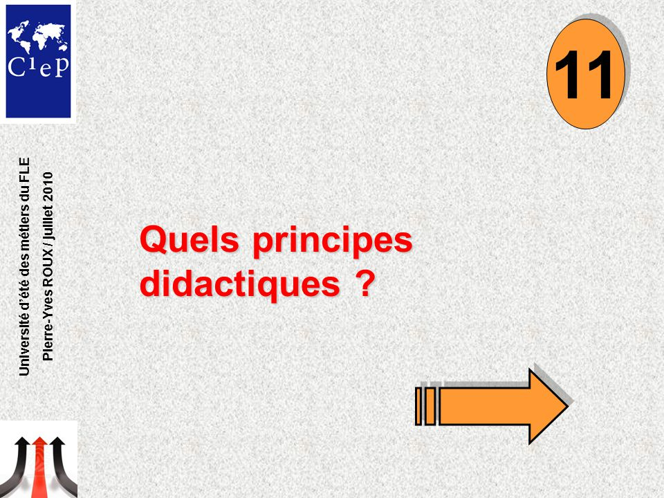 Quels principes didactiques ? 11 Université d'été des métiers du FLE Pierre-Yves ROUX / juillet 2010