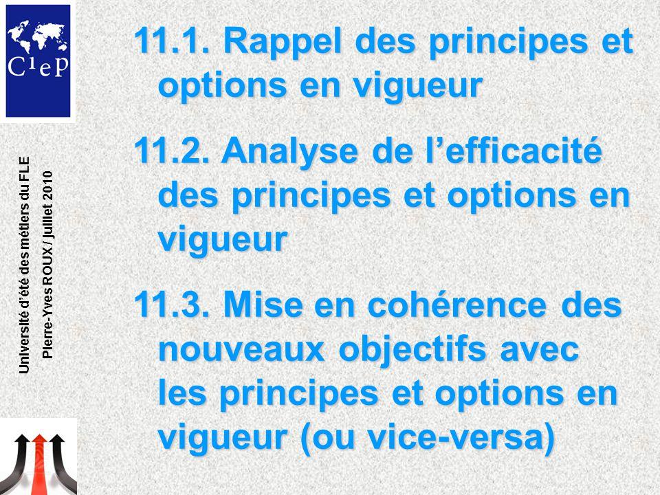 11.1. Rappel des principes et options en vigueur 11.2. Analyse de l'efficacité des principes et options en vigueur 11.3. Mise en cohérence des nouveau