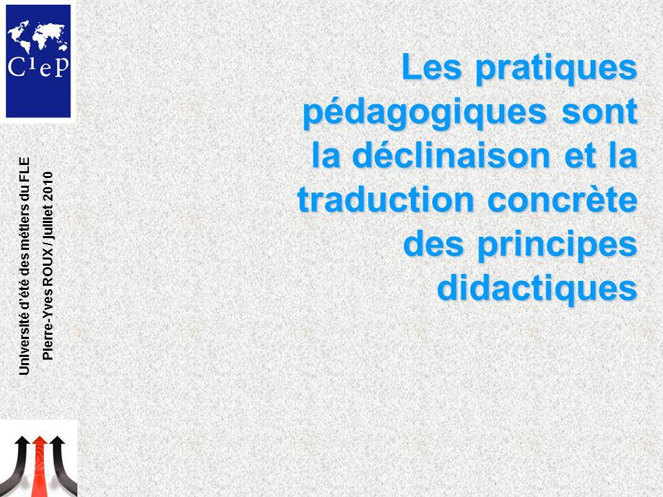 Les pratiques pédagogiques sont la déclinaison et la traduction concrète des principes didactiques Université d'été des métiers du FLE Pierre-Yves ROUX / juillet 2010