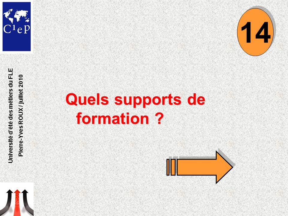 Quels supports de formation ? 14 Université d'été des métiers du FLE Pierre-Yves ROUX / juillet 2010