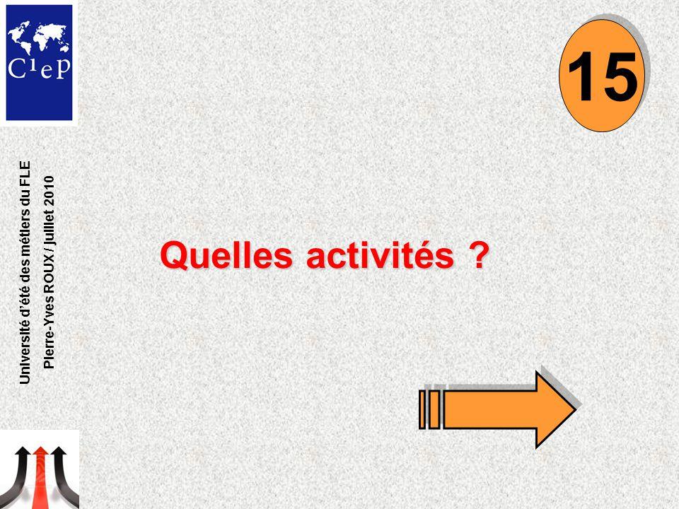 Quelles activités ? 15 Université d'été des métiers du FLE Pierre-Yves ROUX / juillet 2010