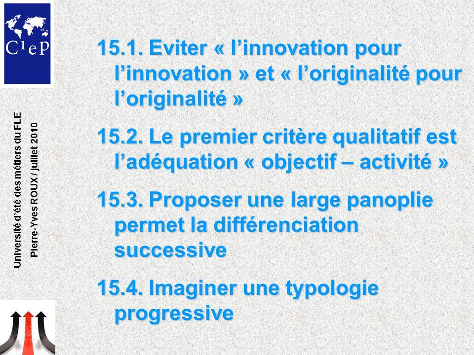 15.1. Eviter « l'innovation pour l'innovation » et « l'originalité pour l'originalité » 15.2. Le premier critère qualitatif est l'adéquation « objecti