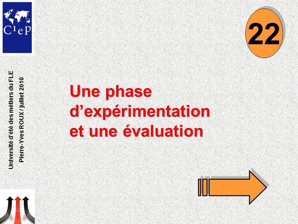 Une phase d'expérimentation et une évaluation 22 Université d'été des métiers du FLE Pierre-Yves ROUX / juillet 2010