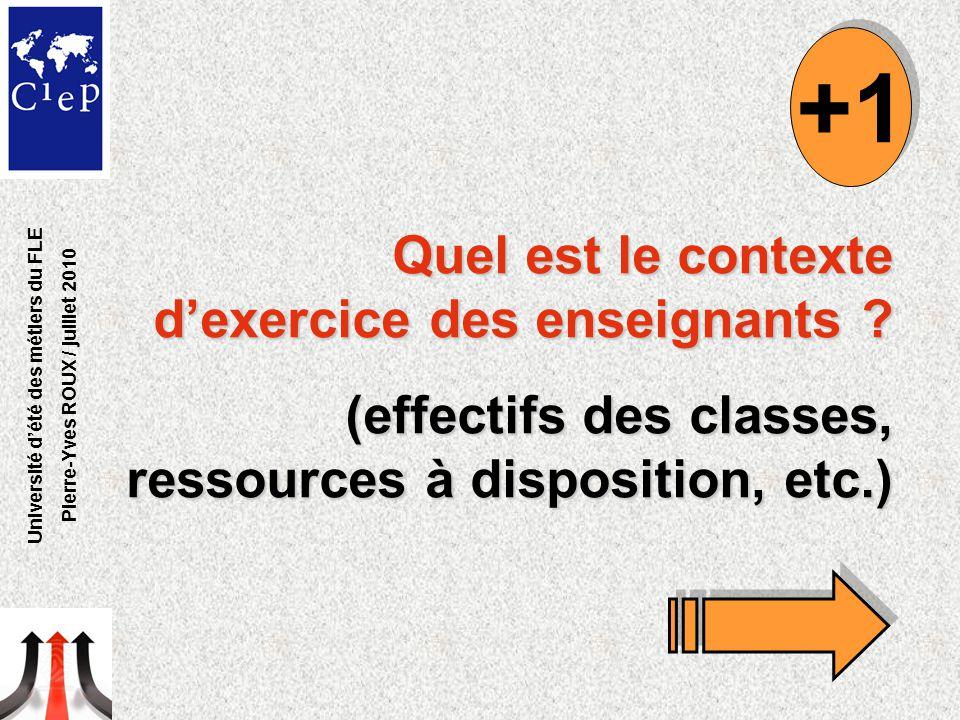 Quel est le contexte d'exercice des enseignants ? (effectifs des classes, ressources à disposition, etc.) +1 Université d'été des métiers du FLE Pierr