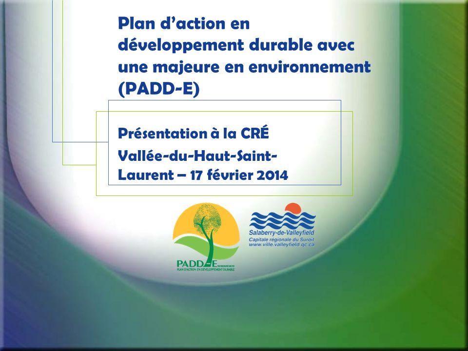 Plan d'action en développement durable avec une majeure en environnement (PADD-E) Présentation à la CRÉ Vallée-du-Haut-Saint- Laurent – 17 février 2014