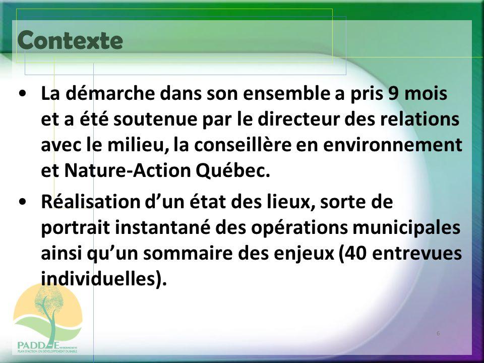 6 Contexte La démarche dans son ensemble a pris 9 mois et a été soutenue par le directeur des relations avec le milieu, la conseillère en environnement et Nature-Action Québec.
