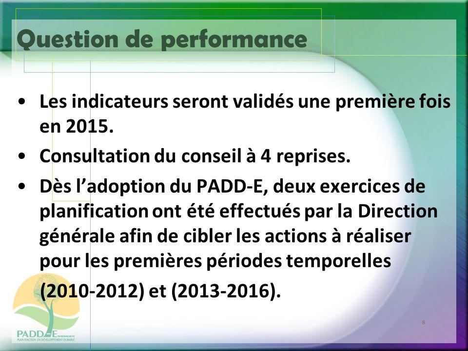 8 Question de performance Les indicateurs seront validés une première fois en 2015.
