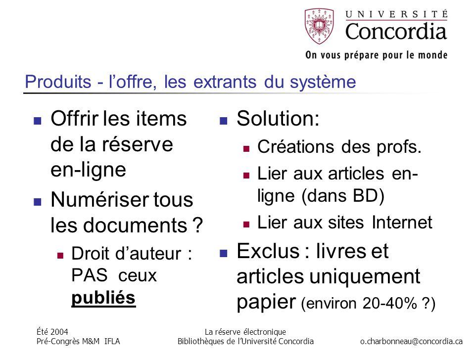 Été 2004 Pré-Congrès M&M IFLA o.charbonneau@concordia.ca La réserve électronique Bibliothèques de l'Université Concordia Produits - l'offre, les extrants du système Offrir les items de la réserve en-ligne Numériser tous les documents .