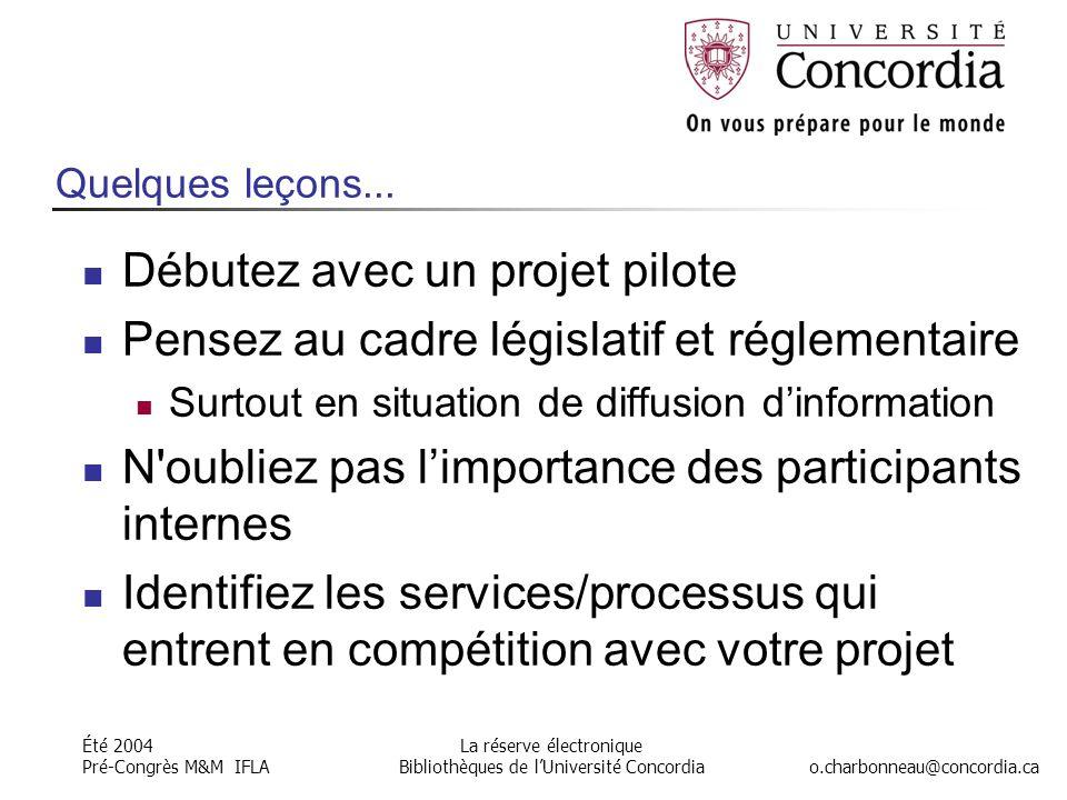 Été 2004 Pré-Congrès M&M IFLA o.charbonneau@concordia.ca La réserve électronique Bibliothèques de l'Université Concordia Quelques leçons...
