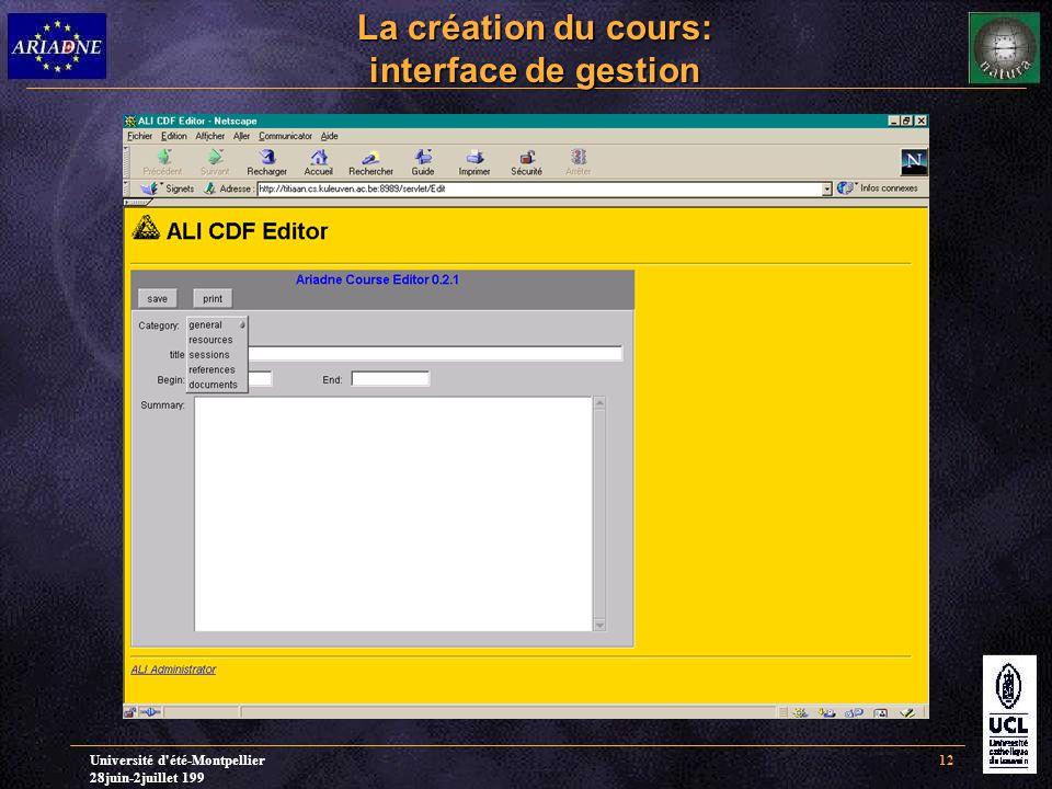 Université d'été-Montpellier 28juin-2juillet 199 12 La création du cours: interface de gestion