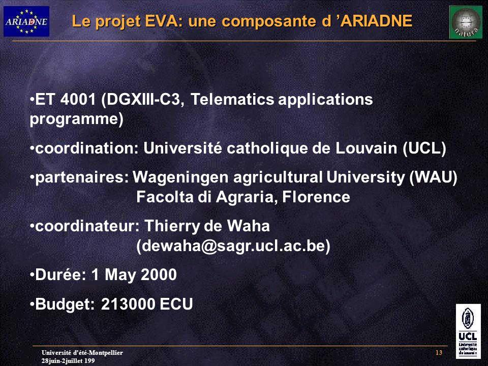 Université d'été-Montpellier 28juin-2juillet 199 13 Le projet EVA: une composante d 'ARIADNE ET 4001 (DGXIII-C3, Telematics applications programme) co