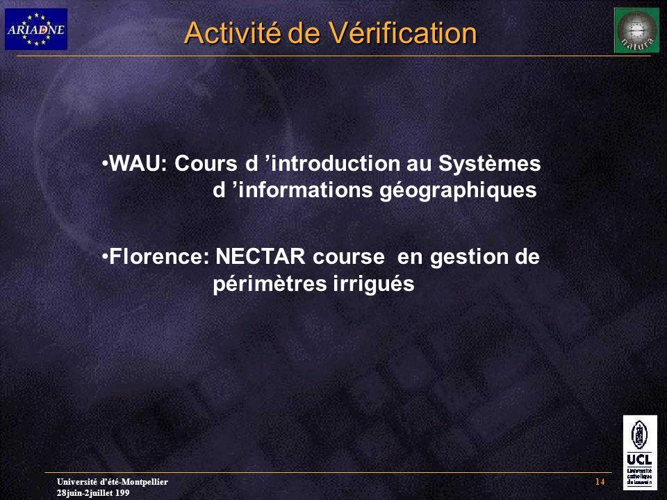 Université d été-Montpellier 28juin-2juillet 199 14 Activité de Vérification WAU: Cours d 'introduction au Systèmes d 'informations géographiques Florence: NECTAR course en gestion de périmètres irrigués