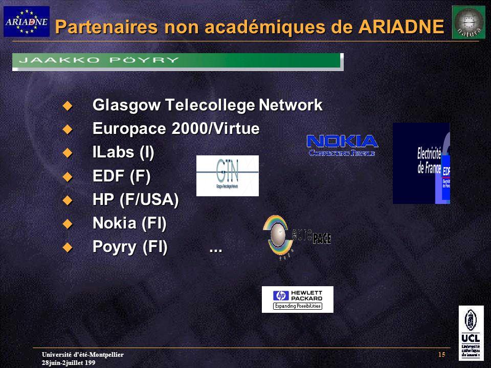 Université d été-Montpellier 28juin-2juillet 199 15 Partenaires non académiques de ARIADNE  Glasgow Telecollege Network  Europace 2000/Virtue  ILabs (I)  EDF (F)  HP (F/USA)  Nokia (FI)  Poyry (FI)...