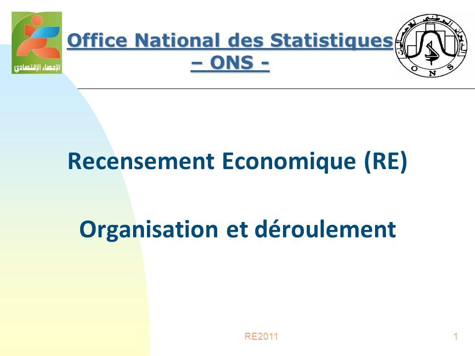 RE20111 Recensement Economique (RE) Organisation et déroulement Office National des Statistiques – ONS -