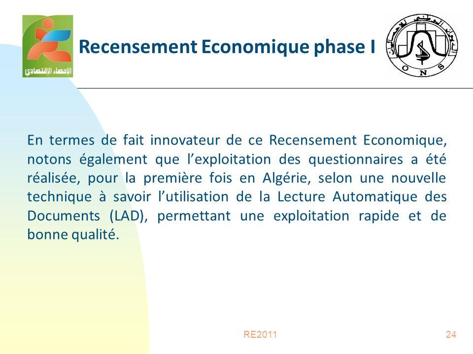 RE201124 En termes de fait innovateur de ce Recensement Economique, notons également que l'exploitation des questionnaires a été réalisée, pour la première fois en Algérie, selon une nouvelle technique à savoir l'utilisation de la Lecture Automatique des Documents (LAD), permettant une exploitation rapide et de bonne qualité.
