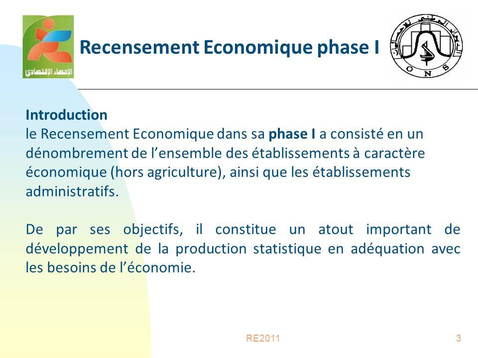 RE20113 Introduction le Recensement Economique dans sa phase I a consisté en un dénombrement de l'ensemble des établissements à caractère économique (hors agriculture), ainsi que les établissements administratifs.