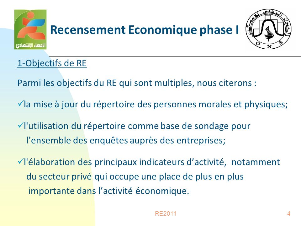 RE20114 1-Objectifs de RE Parmi les objectifs du RE qui sont multiples, nous citerons : la mise à jour du répertoire des personnes morales et physiques; l utilisation du répertoire comme base de sondage pour l'ensemble des enquêtes auprès des entreprises; l élaboration des principaux indicateurs d'activité, notamment du secteur privé qui occupe une place de plus en plus importante dans l'activité économique.