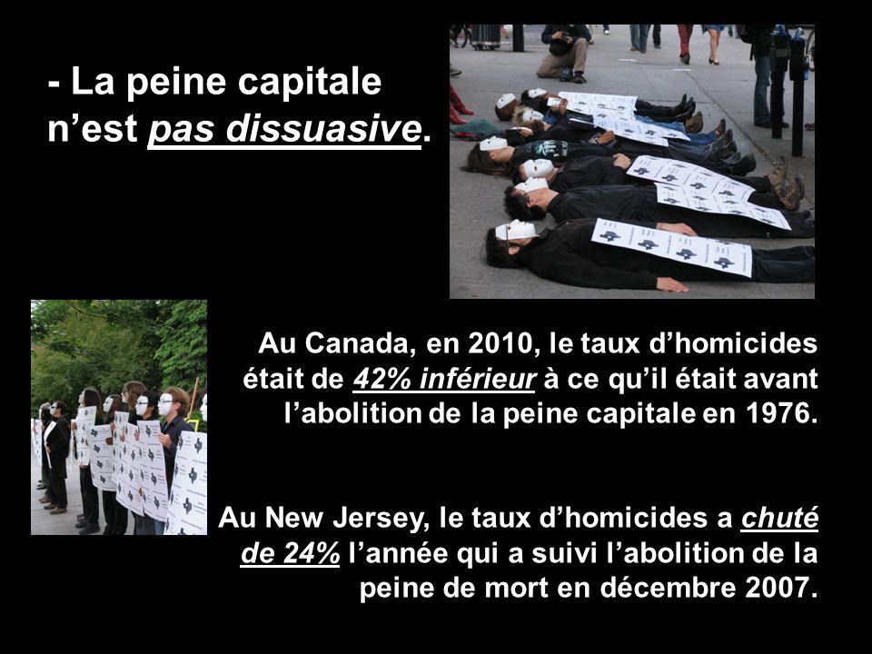- La peine capitale n'est pas dissuasive. Au Canada, en 2010, le taux d'homicides était de 42% inférieur à ce qu'il était avant l'abolition de la pein