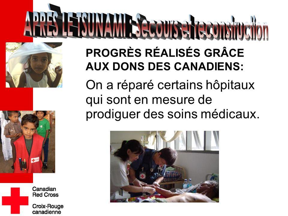 . PROGRÈS RÉALISÉS GRÂCE AUX DONS DES CANADIENS: On a réparé certains hôpitaux qui sont en mesure de prodiguer des soins médicaux.