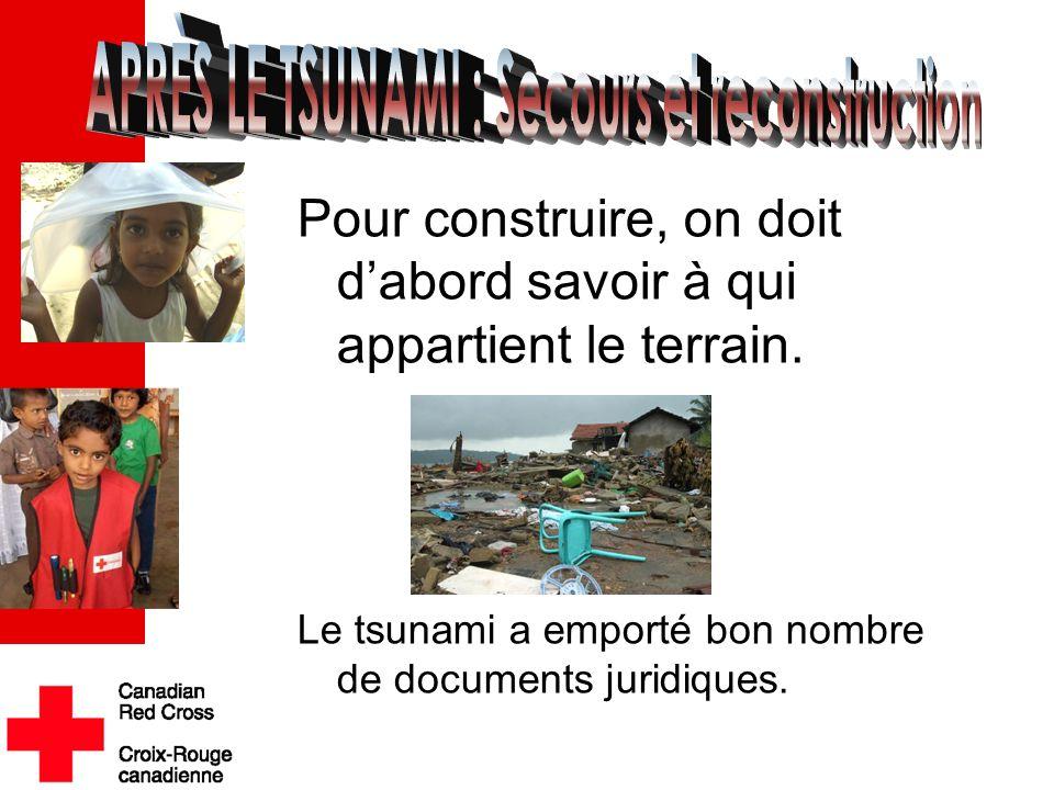 Pour construire, on doit d'abord savoir à qui appartient le terrain. Le tsunami a emporté bon nombre de documents juridiques..