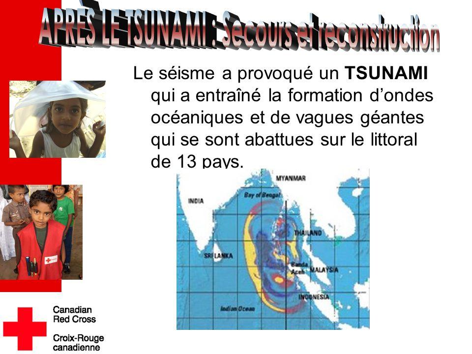 Le séisme a provoqué un TSUNAMI qui a entraîné la formation d'ondes océaniques et de vagues géantes qui se sont abattues sur le littoral de 13 pays..