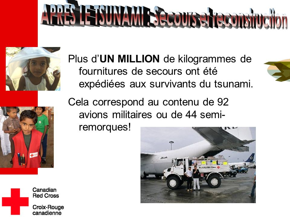 Plus d'UN MILLION de kilogrammes de fournitures de secours ont été expédiées aux survivants du tsunami. Cela correspond au contenu de 92 avions milita