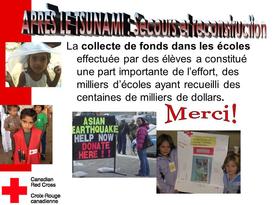 La collecte de fonds dans les écoles effectuée par des élèves a constitué une part importante de l'effort, des milliers d'écoles ayant recueilli des c