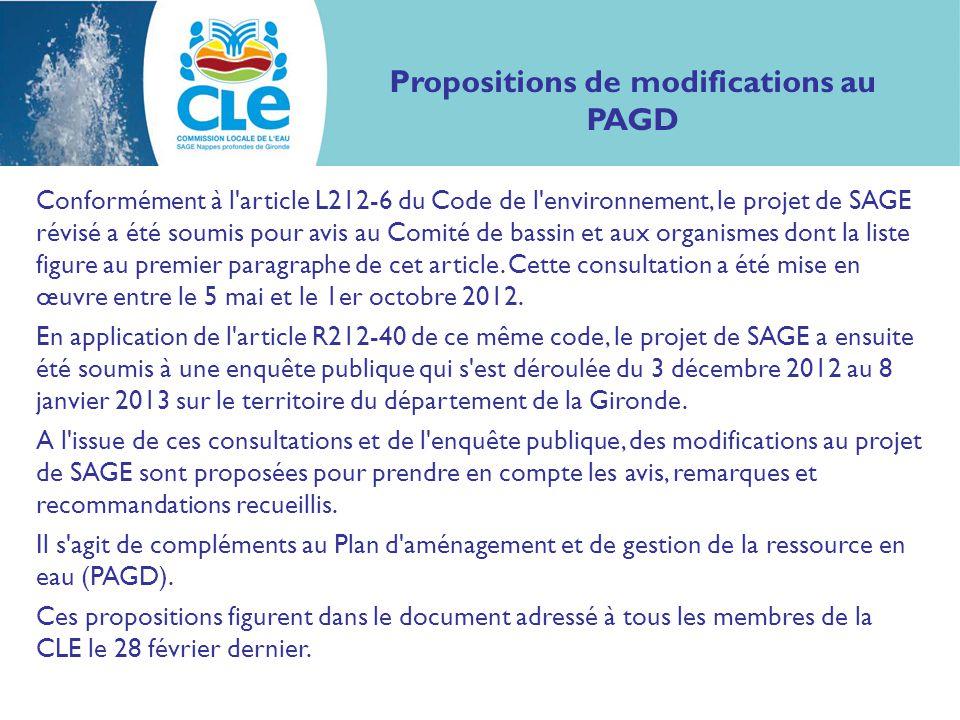 Propositions de modifications au PAGD Conformément à l article L212-6 du Code de l environnement, le projet de SAGE révisé a été soumis pour avis au Comité de bassin et aux organismes dont la liste figure au premier paragraphe de cet article.